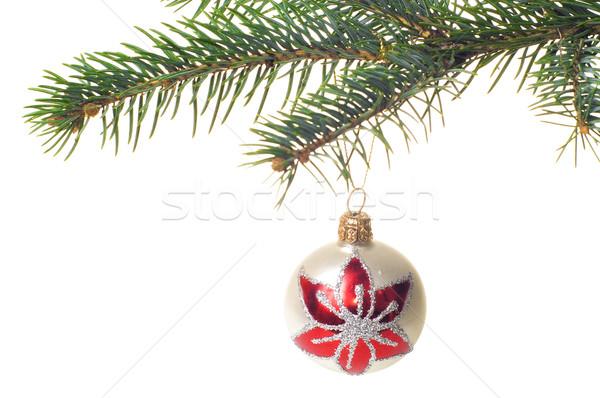 Natal vidro bola árvore de natal isolado fundo Foto stock © pixelman