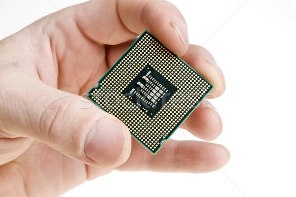Processeur main technologie blanche chemin puce Photo stock © pixelman