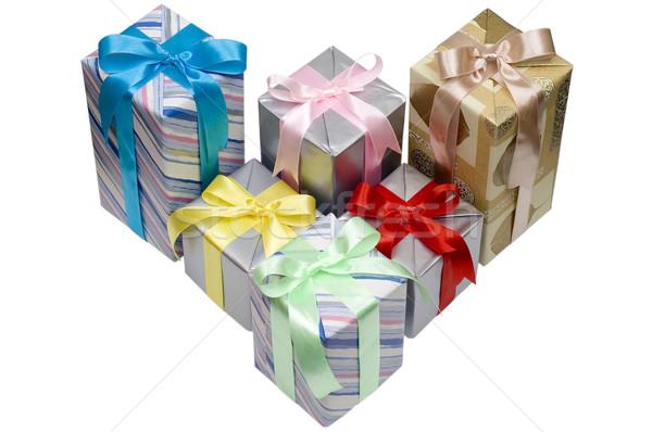Noel hediyeler beyaz doğum günü yeşil kırmızı Stok fotoğraf © pixelman