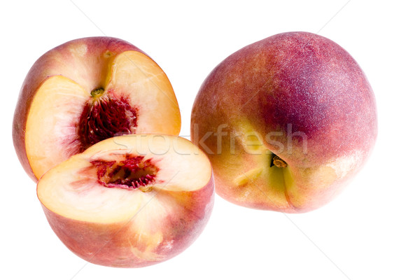 Cortar pêssego isolado macro comida laranja Foto stock © pixelman