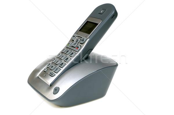 Stock fotó: Drótnélküli · telefon · izolált · fehér · iroda · telefon