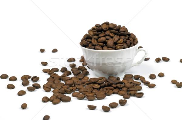 Café xícara de café isolado branco copo feijões Foto stock © pixelman