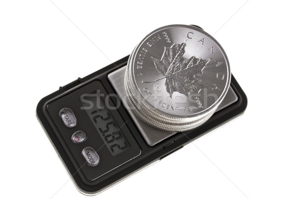 Canadian investment silver coins, placed on precision balance with an electronic display, isolated o Stock photo © pixelman