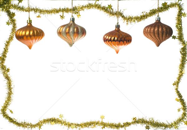 Noel dekorasyon süs beyaz arka plan çerçeve Stok fotoğraf © pixelman