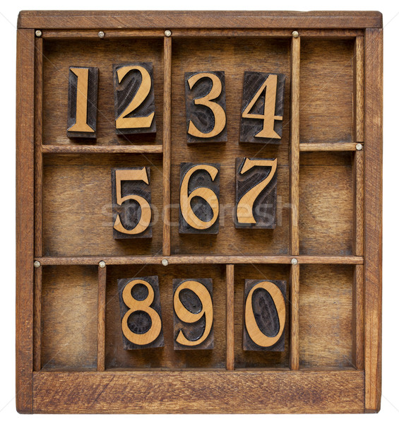 Ten arabic numerals from zero to nine, vintage wood letterpress blocks stained by black ink in old t Stock photo © PixelsAway