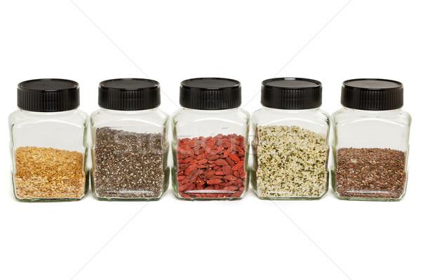 flax, chia, hemp seeds and goji Stock photo © PixelsAway