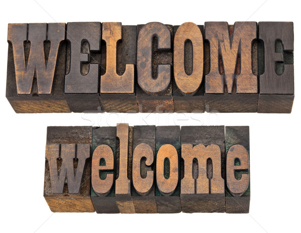 welcome word in letterpress type Stock photo © PixelsAway