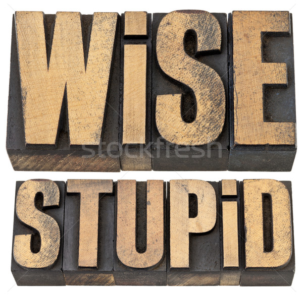 wise and stupid in letterpress wood type Stock photo © PixelsAway
