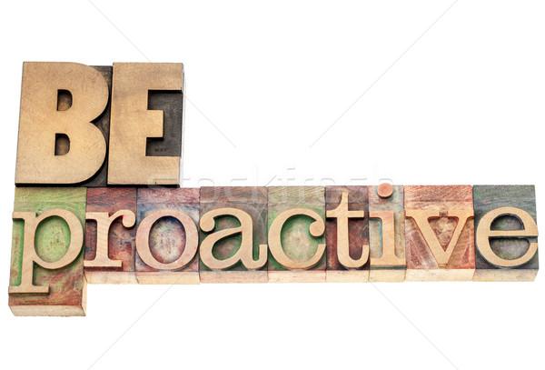 Proactivo madera tipo aislado texto vintage Foto stock © PixelsAway