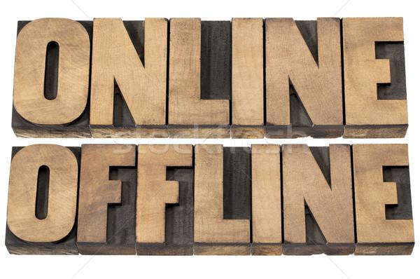 online and offline words Stock photo © PixelsAway