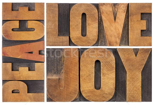愛 喜び 平和 タイポグラフィ 抽象的な コラージュ ストックフォト © PixelsAway