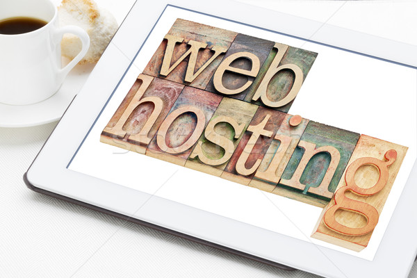 Háló hosting szöveg magasnyomás fa Stock fotó © PixelsAway
