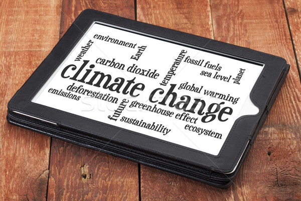 climate change word cloud on tablet Stock photo © PixelsAway