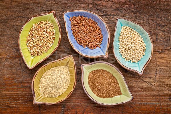 Sin gluten tazón establecer cinco arroz Foto stock © PixelsAway