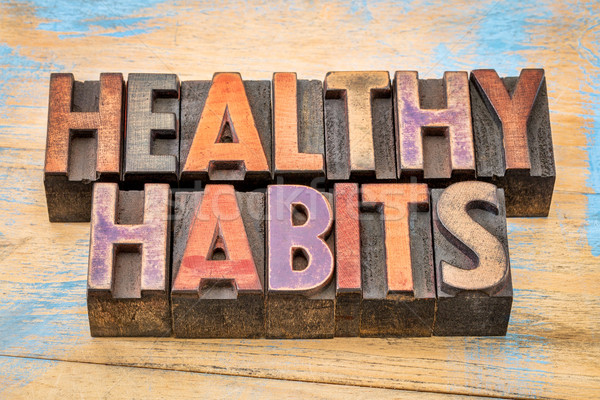 healthy habits words - lifestyle concept Stock photo © PixelsAway