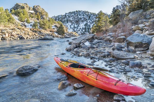 Kajak folyó part Arkansas Colorado tél Stock fotó © PixelsAway