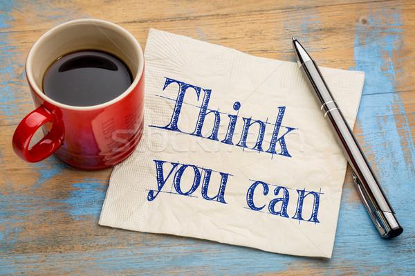 Denk kan herinnering servet handschrift beker Stockfoto © PixelsAway