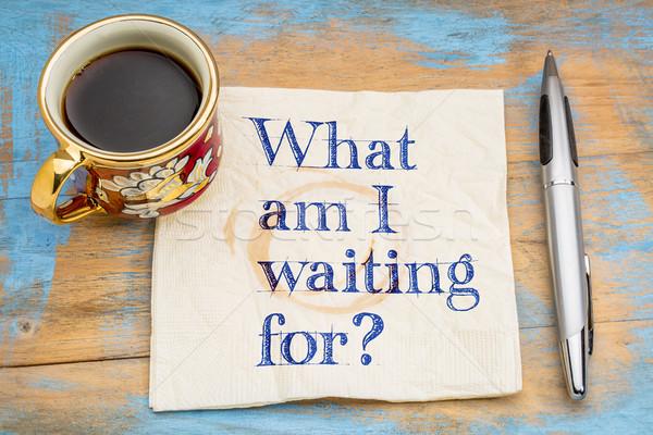 Mi délelőtt vár kérdés szalvéta csésze Stock fotó © PixelsAway