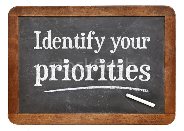 Identify your priorities - blackboard sign Stock photo © PixelsAway