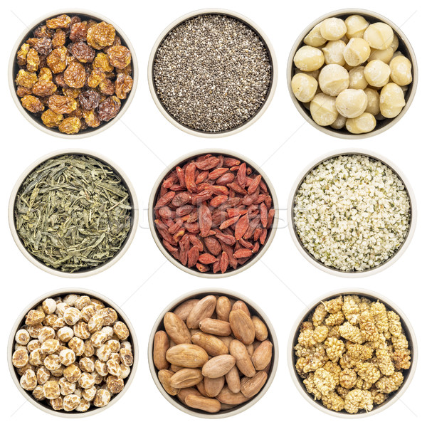 Stock photo: superfood collection in isolated bowls