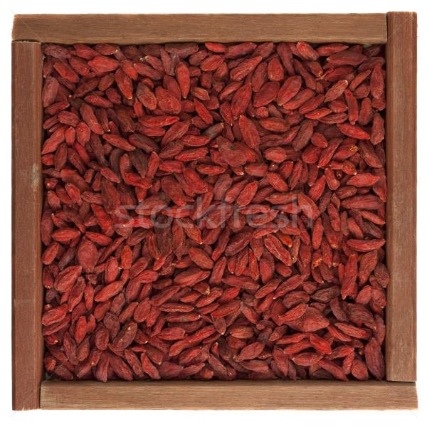 Tibetan goji berries (wolfberry) in wooden box Stock photo © PixelsAway