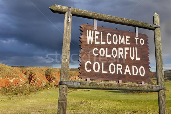 Stok fotoğraf: Karşılama · Colorado · imzalamak · renkli · yol · kenarı