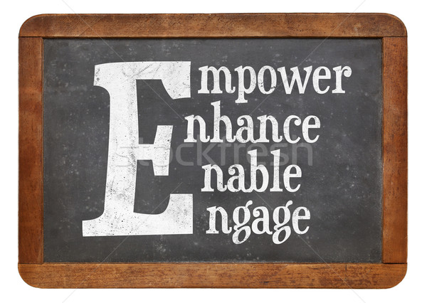 Empower, enhance, enable, engage word abstract Stock photo © PixelsAway