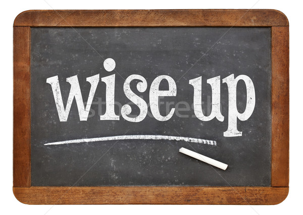 WIse up blackboard sign Stock photo © PixelsAway