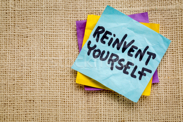reinvent yourself on sticky note Stock photo © PixelsAway
