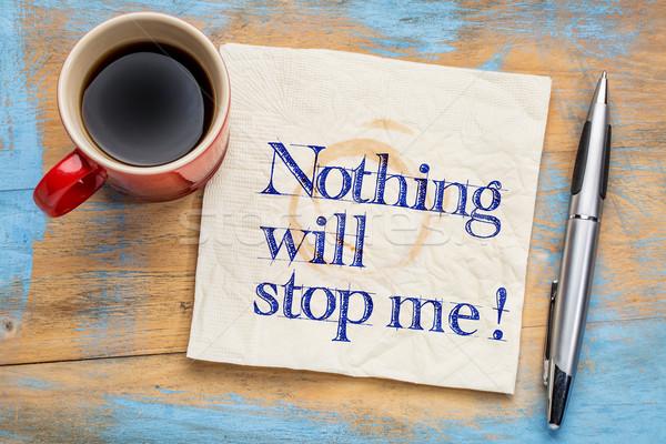 Rien arrêter moi écriture serviette tasse Photo stock © PixelsAway