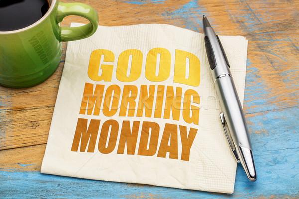 Stok fotoğraf: Sabah · iyi · kelime · soyut · peçete · fincan · kahve
