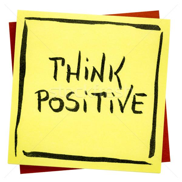 думать положительный Вдохновенный напоминание почерк изолированный Сток-фото © PixelsAway