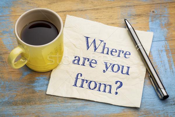 Vraag servet handschrift beker espresso koffie Stockfoto © PixelsAway