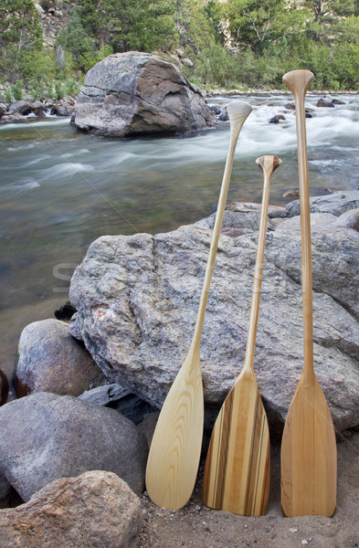 canoe paddles and river Stock photo © PixelsAway