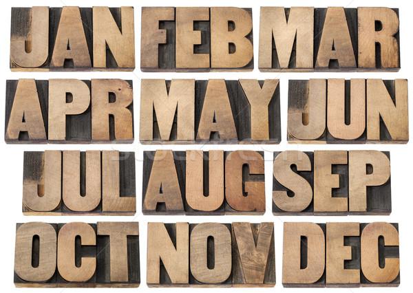 Kalender maanden hout type 12 december Stockfoto © PixelsAway
