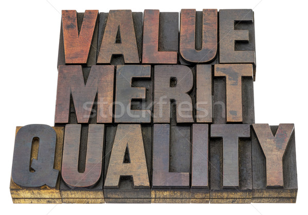 Valor merecer qualidade isolado palavra vintage Foto stock © PixelsAway