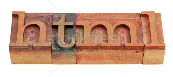 Tekst taal html woord vintage houten Stockfoto © PixelsAway
