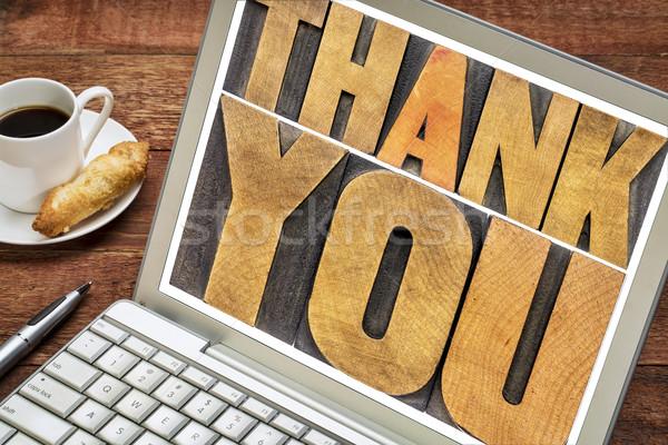 Foto stock: Obrigado · tipografia · palavra · abstrato · madeira