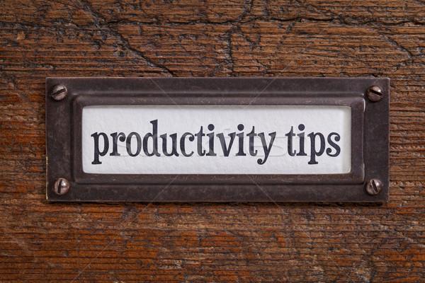 productivity tips - file cabinet label Stock photo © PixelsAway
