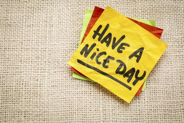 Nice jour note collante écriture toile de jute toile Photo stock © PixelsAway
