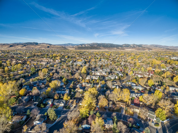 Fort Collins in fall colors from air Stock photo © PixelsAway