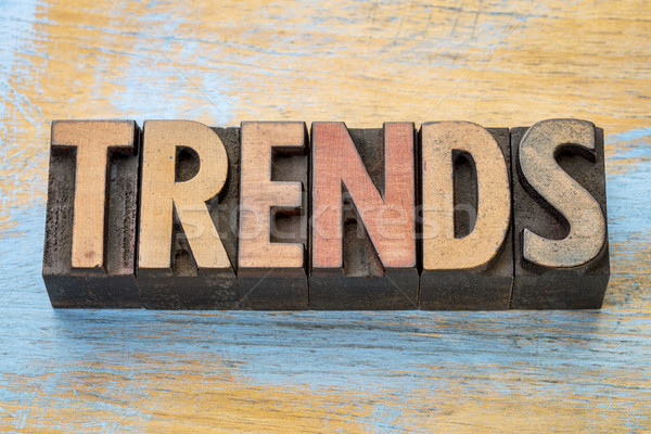 trends word abstract in wood type Stock photo © PixelsAway