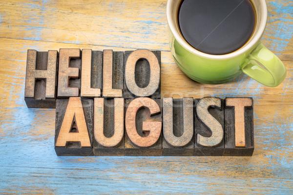 Olá agosto palavra abstrato madeira tipo Foto stock © PixelsAway