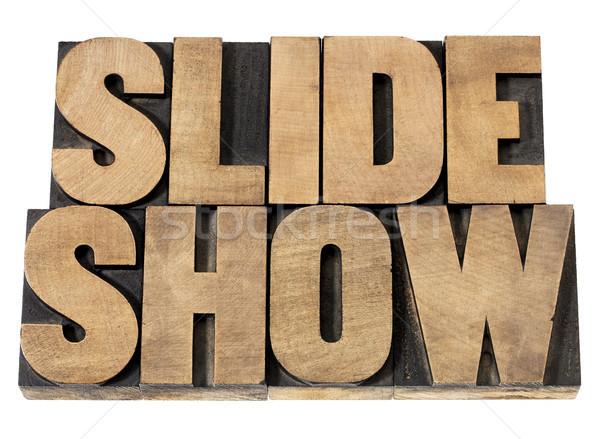 Deslizar mostrar madeira tipo apresentação isolado Foto stock © PixelsAway