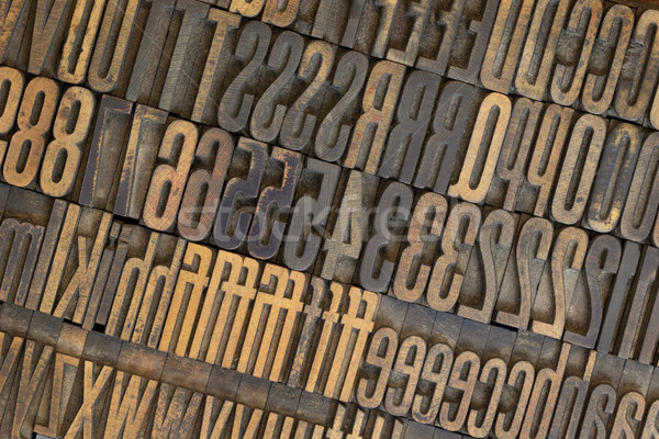vintage wooden letterpress types background Stock photo © PixelsAway