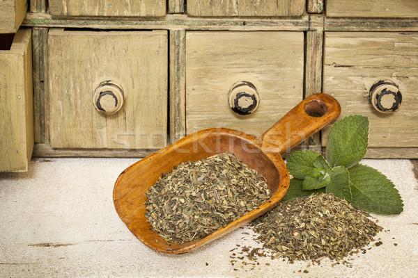 Hortelã-pimenta chá medicinal fresco folhas rústico Foto stock © PixelsAway