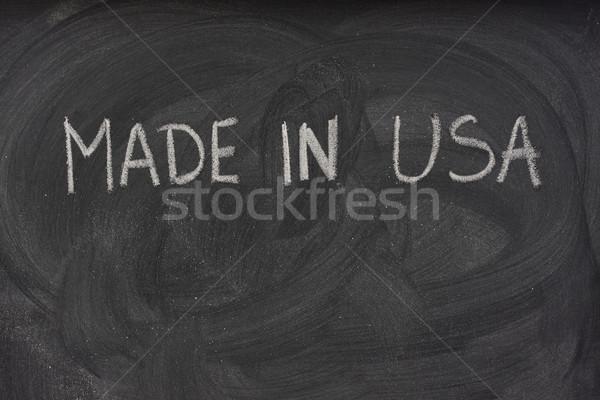 Stock photo: made in USA on a blackboard