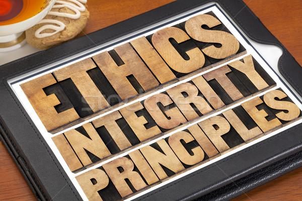Ahlâk ilkeler kelime soyut etik dijital Stok fotoğraf © PixelsAway