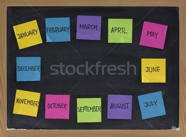 twelve months on blackboard Stock photo © PixelsAway