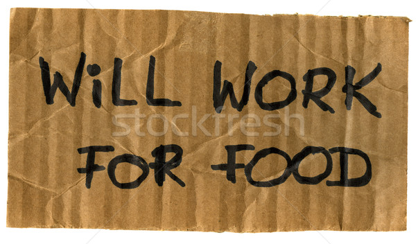 will work for food cardboard sign Stock photo © PixelsAway